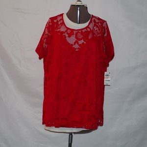 Short sleeve red laced shirt